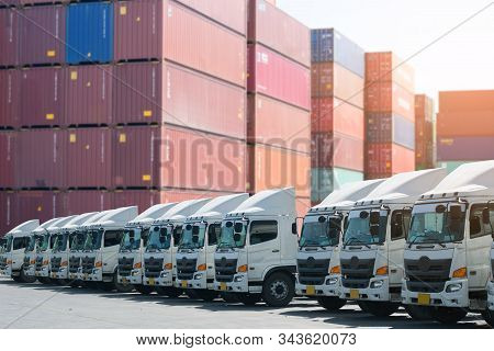 New Haulage Truck Fleet Is Parking In The Container Depot As For Shipping =, Logistics, Business Tra