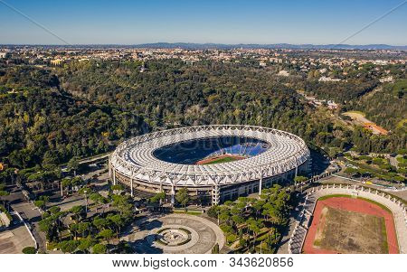 Italy, Rome, January 2020 - Aerial View Of Stadio Olimpico. Stadium Of Soccer Clubs Lazio And Roma