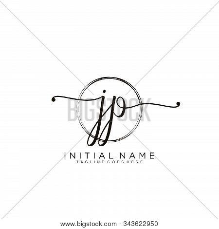 Jp Initial Handwriting Logo With Circle Template Vector.
