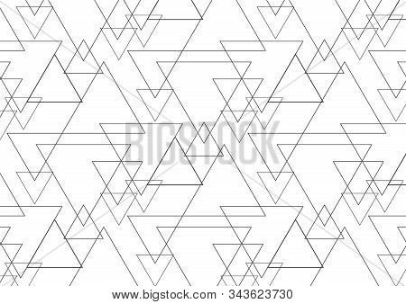 Linear Triangle Vector Pattern With Big And Small Triangle Connected Each. Abstract Geometric Backgr