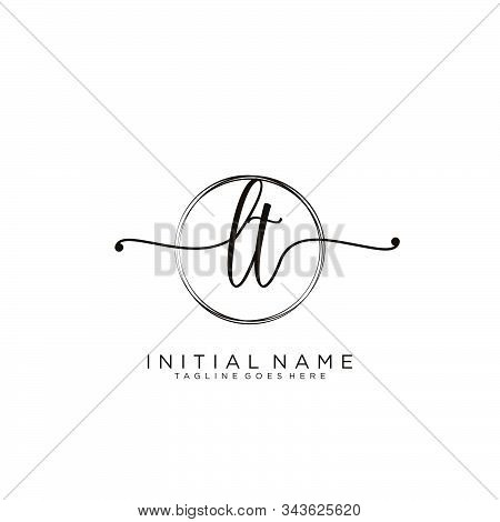 Lt Initial Handwriting Logo With Circle Template Vector.