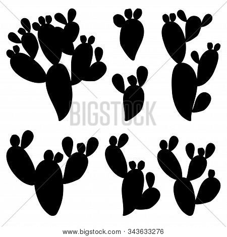 Vector Set With Cactus Indian Fig Opuntia Or Prickly Pear Silhouettes In Black Isolated On White Bac