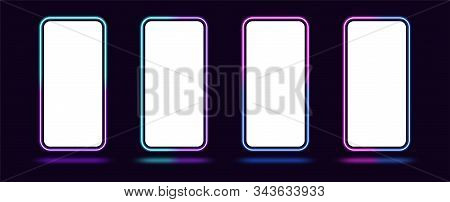 Phone Mockup With Gradient Neon Border. Modern Set Of Phone Templates With Creative Duotone Neon Fra