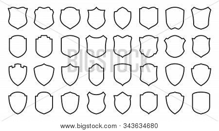 Shields Line Icons Set. Security Symbol. Coat Arms Linear Icon. Safety, Defense, Protection Outline