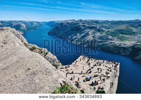 Pulpit Rock At Lysefjorden In Norway.preikestolen Rock Norway