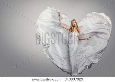Woman Long White Dress, Fluttering Wings As Heart, Fashion Model Waving Flying Gown, Full Length Bea