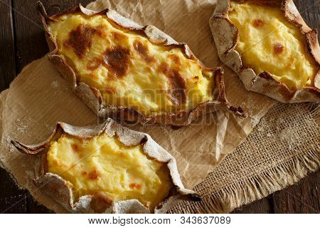 Traditional Karelian Pasties With Potatoes Top View
