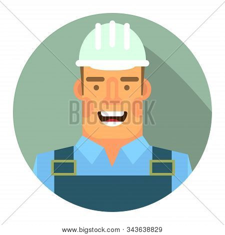 Vector Icon. Flat Icon With The Image Of A Worker In A Hard Hat