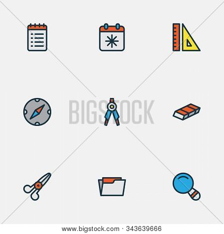 Stationary Icons Colored Line Set With To Do List, Compass, Ruler And Other Directory Elements. Isol