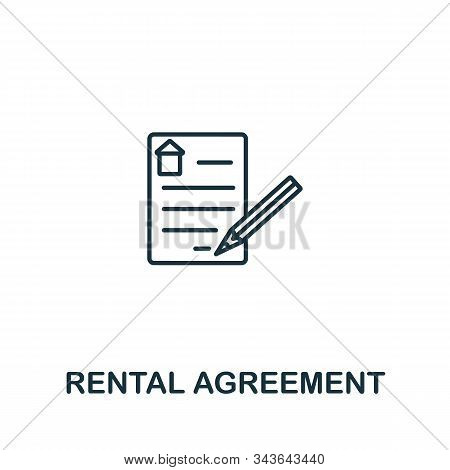Rental Agreement Icon. Line Style Symbol From Real Estate Icon Collection. Rental Agreement Creative