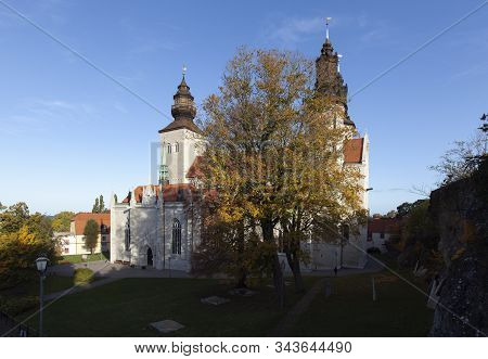 Visby, Sweden On October 12. View Of The Cathedral From A Hill Next To The Dome On October 12, 2019