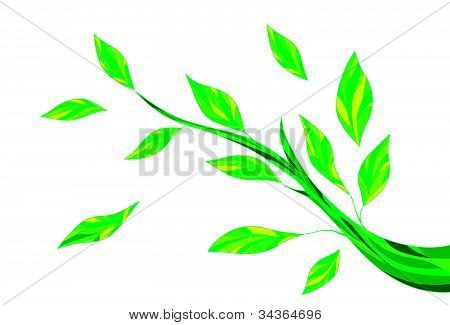 Stylised green leaves on a branch