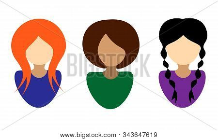 Ginger Woman In Blue Blouse, Brown-haired Woman In Green Blouse, Brunette Woman In Violet Blouse