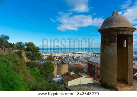 Denia, Alicante, Spain, November 21, 2018: A Lookout And Sentry Tower Of The Castle, Looking At The