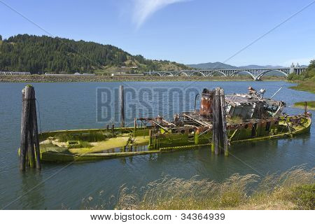 A Wreck And Abandoned Fishing Boat.