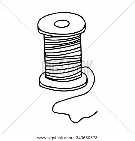 Spool Of Thread For Needlework And Sewing. Black And White Vector Illustration Isolated On A White B