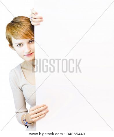 Beautiful Woman Holding Blank Copyspace Board