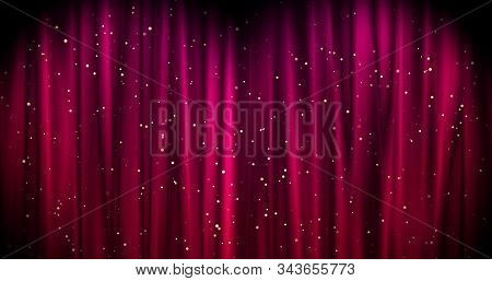 Magical Merry Christmas Background With Red Stage Curtain Cloth And Golden Falling Stars . Luxury Wa