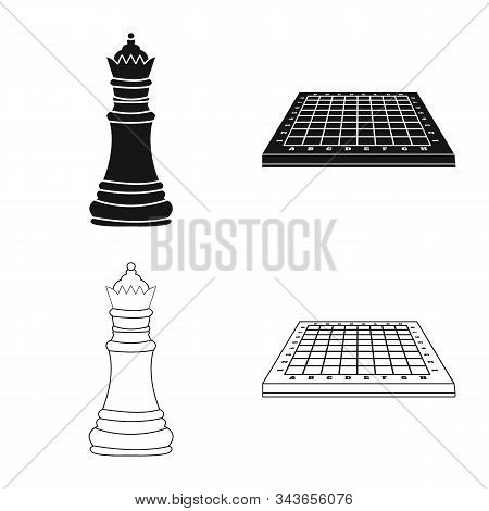 Isolated Object Of Checkmate And Thin Logo. Collection Of Checkmate And Target Stock Symbol For Web.