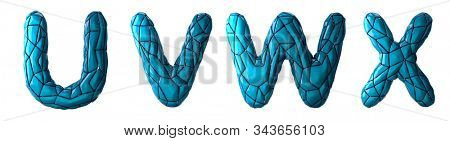 Realistic 3D letters set U, V, W, X made of low poly style. Collection symbols of low poly style blue color plastic isolated on white background 3d rendering