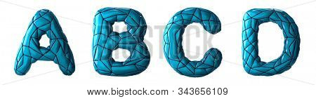 Realistic 3D letters set A, B, C, D made of low poly style. Collection symbols of low poly style blue color plastic isolated on white background 3d rendering