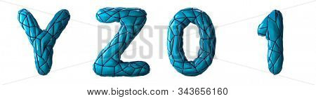 Realistic 3D letters set Y, Z, 0, 1 made of low poly style. Collection symbols of low poly style blue color plastic isolated on white background 3d rendering