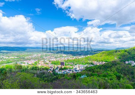 Top Aerial Panoramic View Of Karlovy Vary (carlsbad) Spa Town With Colorful Beautiful Buildings, Sla