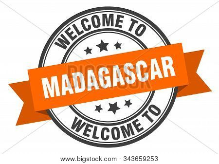 Madagascar Stamp. Welcome To Madagascar Orange Sign