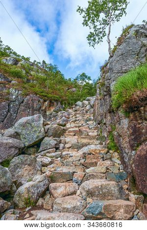 View Of Stone Steps Of A Hiking Trail To The Preikestolen (the Pulpit Rock) The One Of The Main Attr