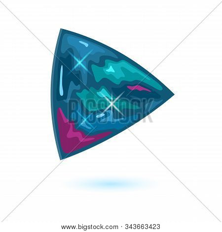 Amazing Triangle Shape Alexandrite. Natural Mineral, Gemstone Vector Illustration Isolated On White