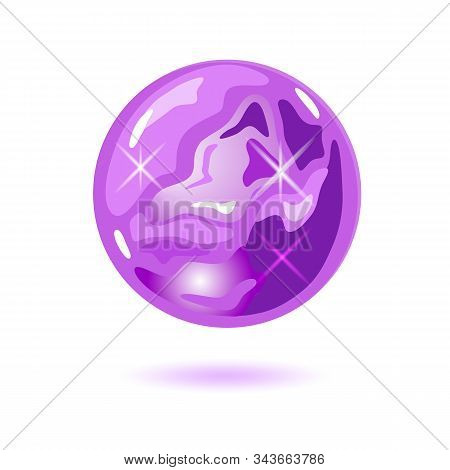 Amazing Round Shape Amethyst. Cristal Magic Ball. Purple Natural Gemstone, Precious Stone Vector Ill