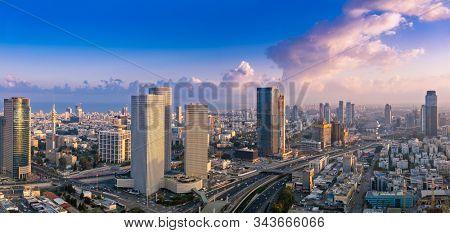 Tel Aviv Skyline At Sunset,  Tel Aviv Cityscape Panorama, Israel