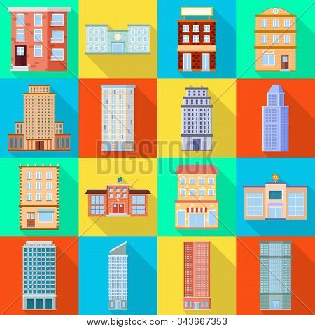 Vector Illustration Of Municipal And Center Symbol. Collection Of Municipal And Estate Stock Vector