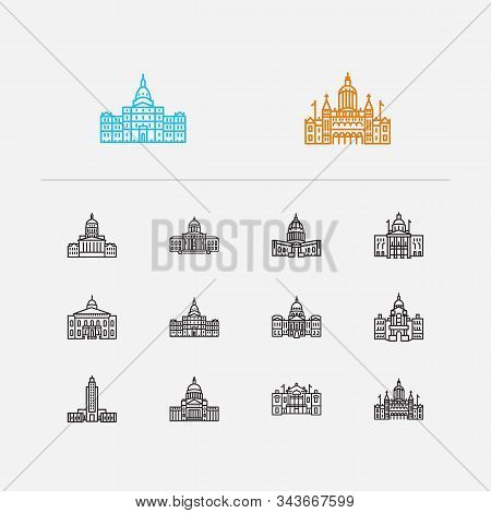 Us Capitols Icons Set. Connecticut State Capitol And Us Capitols Icons With Indiana State Capitol, A