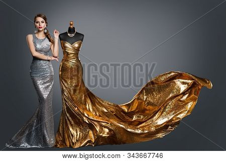 Woman Evening Dress, Fashion Gown On Tailor Dummy, Elegant Gold Silver Clothes Models