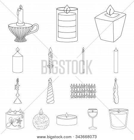 Isolated Object Of Source And Ceremony Symbol. Collection Of Source And Fire Stock Vector Illustrati