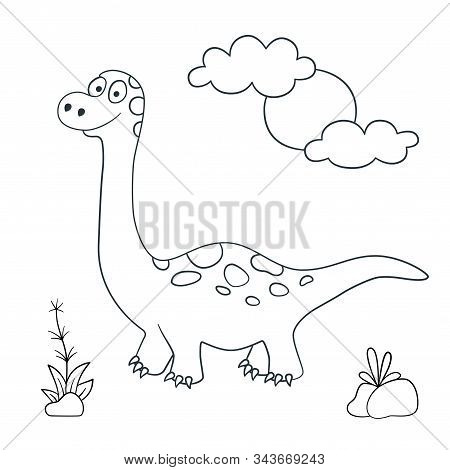 Cute Dinosaur. Dino Brachiosaurus. Vector Illustration In Doodle And Cartoon Style For Coloring Book