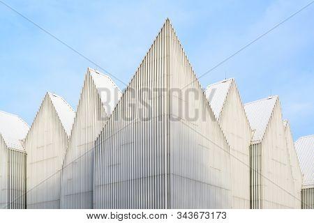 Szczecin, Poland - October 25, 2019:  Modern Futuristic Facade Of The Philharmonic Hall On Solidarit