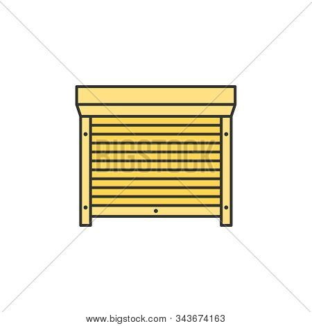 Motorized Shutters, Blinds Colored Thin Line Icon Vector Sign
