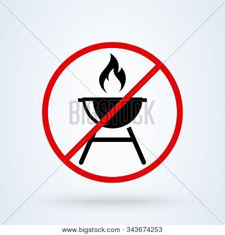 Roaster Bbq Forbidden, No. Simple Vector Modern Icon Design Illustration.