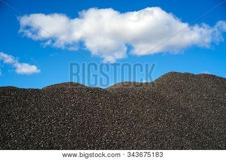 Heap Of Black Coal. Mineral Coal. Coal Mining.