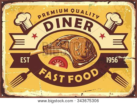 Retro Diner Sign With Lamb Steak, Slice Of Tomato, Chef Hat And Fork On Old Yellow Background. Resta