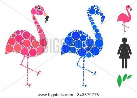 Flamingo Mosaic Of Small Circles In Various Sizes And Color Tints, Based On Flamingo Icon. Vector Sm