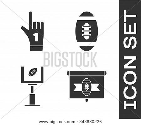 Set American Football On Tv Program, Number 1 One Fan Hand Glove With Finger Raised, American Footba
