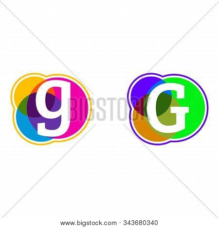 Set Of Colorful Icons, G Letter Logo, Letter G In Colorful Circle.