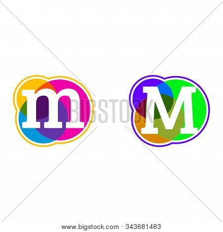 Set Of Colorful Icons, M Letter Logo, Letter M In Colorful Circle.