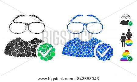 For Clevers Mosaic Of Round Dots In Various Sizes And Color Tints, Based On For Clevers Icon. Vector