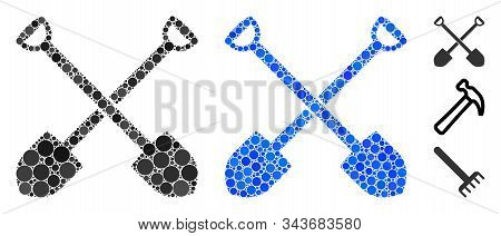 Shovels Mosaic Of Round Dots In Variable Sizes And Color Tints, Based On Shovels Icon. Vector Round