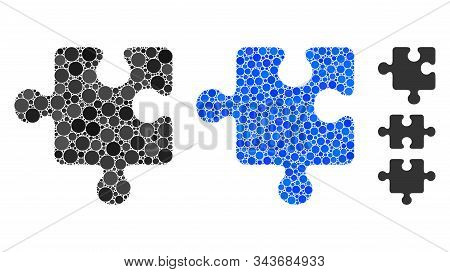 Puzzle Detail Mosaic Of Filled Circles In Different Sizes And Color Hues, Based On Puzzle Detail Ico