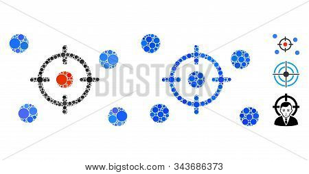 Selective Mosaic Of Filled Circles In Various Sizes And Color Tints, Based On Selective Icon. Vector